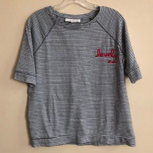LOFT Charcoal Striped Sh. Sl. Sweater - Sz S - NWT